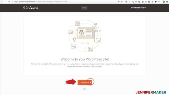 Begin the WordPress Starter Setup for your new blog site