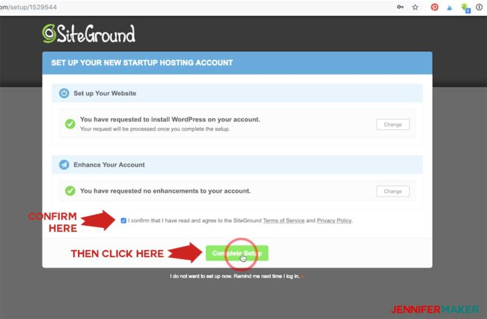Confirm Setup on the Siteground wizard to make a blog site in WordPress