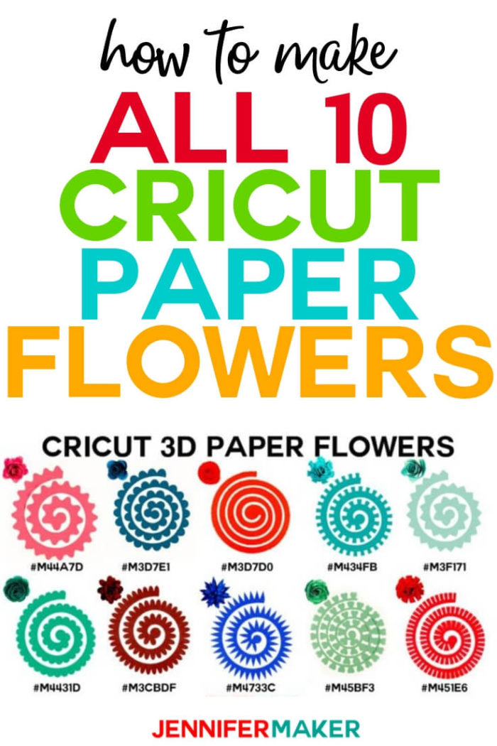 Learn how to make all ten Cricut paper flowers in Cricut Design Space using the Flower Shoppe Cartridge included in Cricut Access -- I show you everything from picking the paper, choosing the right tool and glue, and the assembly itself! #cricut #cricutmade #cricutmaker #cricutexplore #svg #svgfile