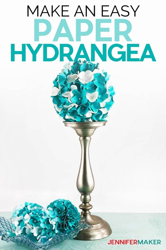 Learn How to Make a Paper Hydrangea Flower with my tutorial and free SVG cut file #cricut #paperflowers