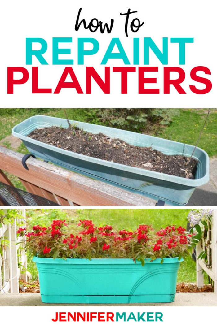 Learn how to paint plastic planters to refresh your container garden this year. By simply spray painting plastic planters in any color or style that suits you, your garden will be upgraded quickly and easily! #diy #tutorial #containergarden