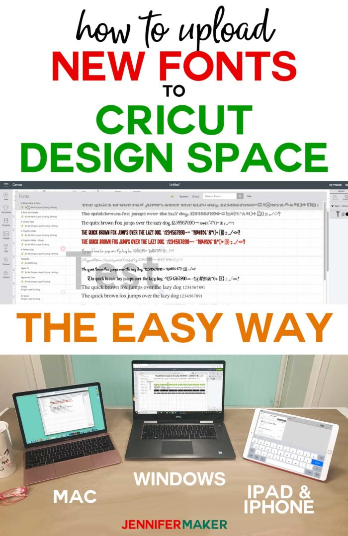 How to Upload Fonts to Cricut Design Space on Windows, Mac, iPad, and iPhone -- tutorial and free font! #cricut #font #designspace #windows #mac #ipad