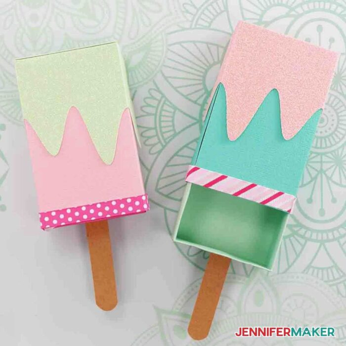 Pink and blue ice cream treat boxes and Popsicle gift card holders made with cardstock