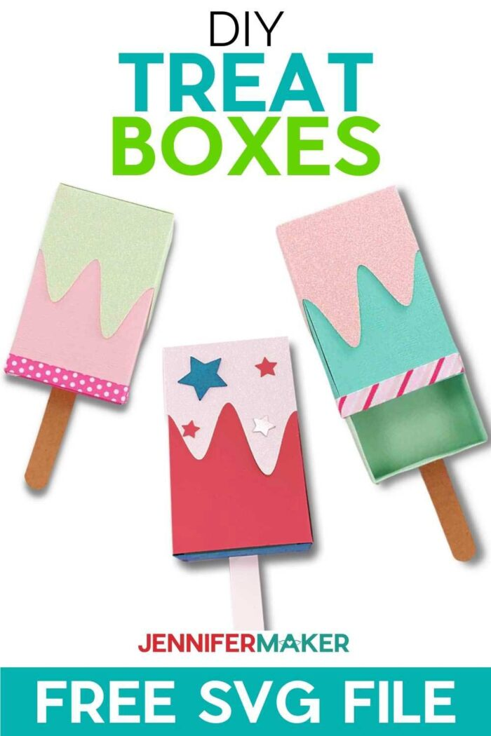 DIY Ice Cream Treat Boxes and Gift Card Holders - Free SVG Cut File for Cricut