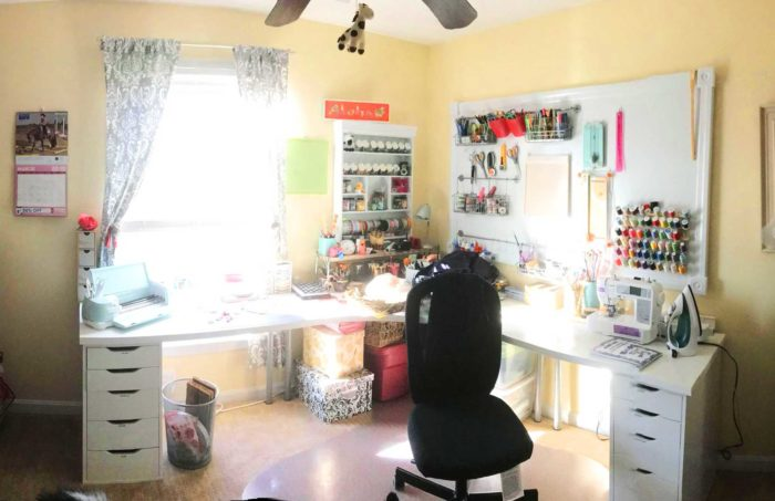 IKEA craft room tables and desk ideas and hacks by reader Aimee Landry