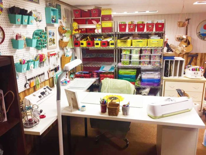 IKEA craft room tables and desk ideas and hacks by reader Cindy Reinert