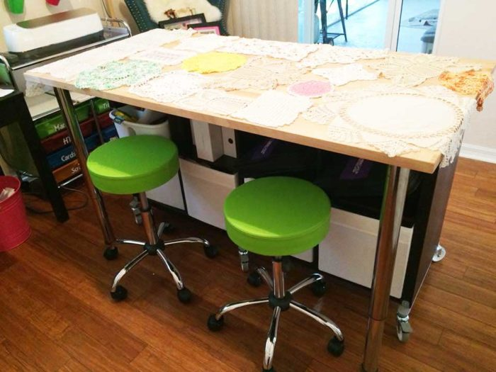 IKEA craft room tables and desk ideas and hacks by reader Kerry VanScoik