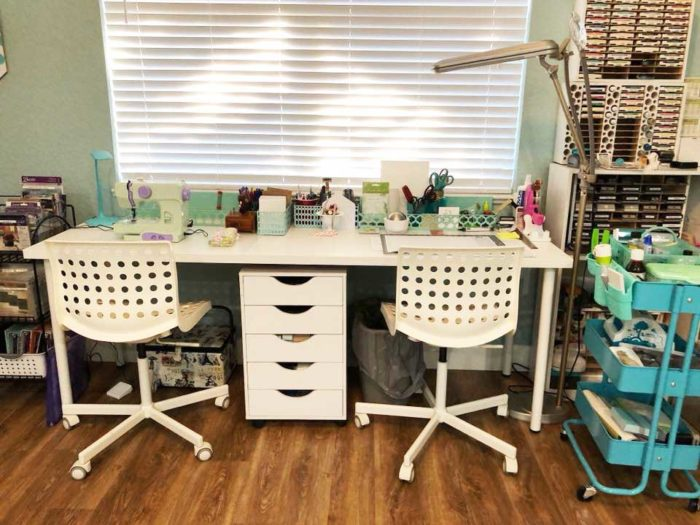 IKEA craft room tables and desk ideas and hacks by reader Nancy Smith