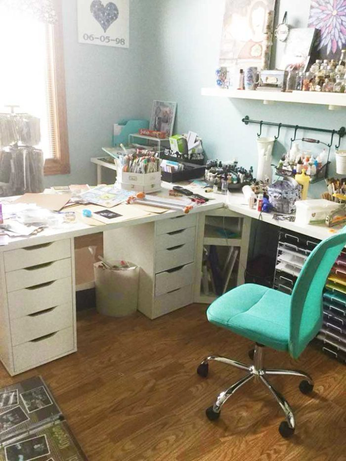IKEA craft room tables and desk ideas and hacks by reader Sonya Moreau