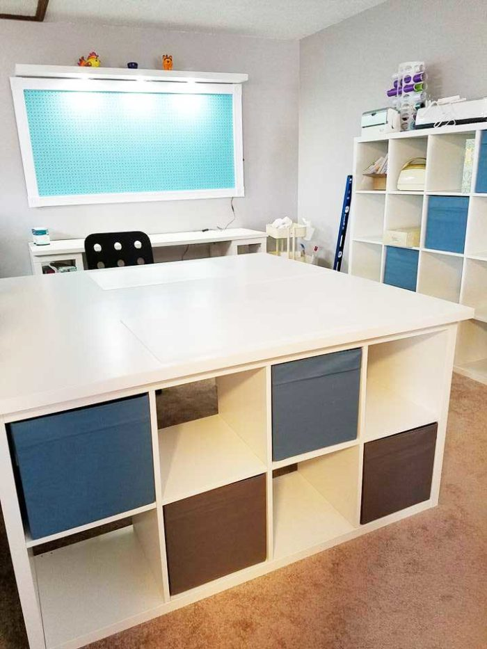 IKEA craft room tables and desk ideas and hacks by reader Tracy Gooch