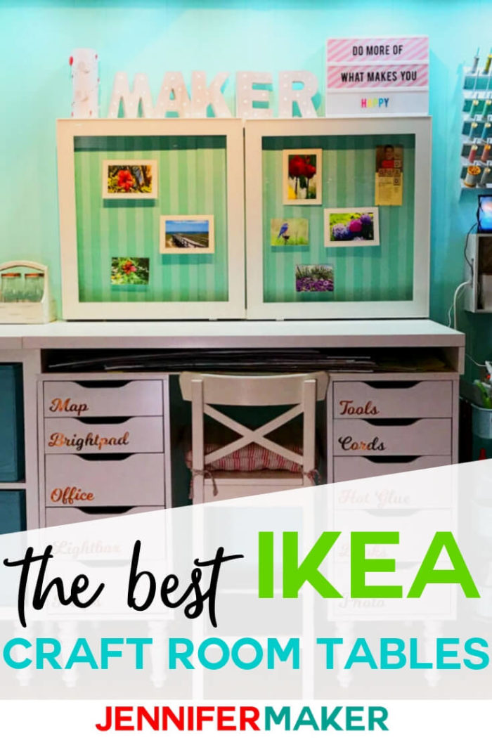 Find the best ideas for making your own IKEA craft room tables and desks that fit any space and storage requirements. I have included multiple IKEA hacks as well to help you make the most out of your craft room.  #diy #craftroom #ikeacraftroom