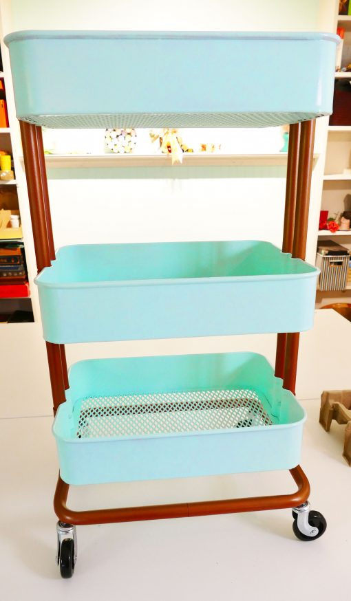 My painted IKEA Raskog Cart is all assembled and redy to decorate!