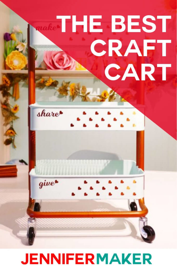 The Ikea Raskog Cart is the best craft card on wheels. You can store your favorite crafting tools for easy access. Decorating your craft card will add a personal touch to your space.  #vinylprojects #diy #tutorial #craftprojects #craftroom