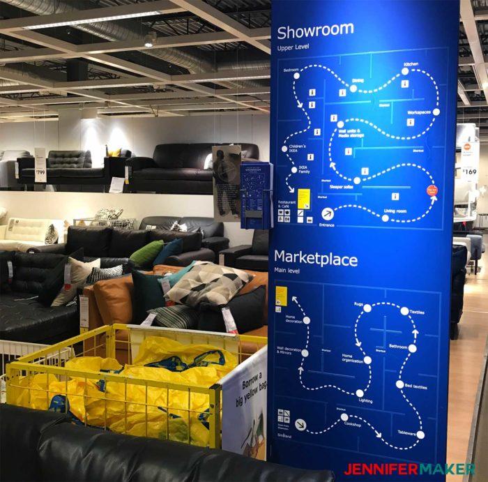 These blue IKEA floor maps are all over the place, a useful IKEA shipping tip