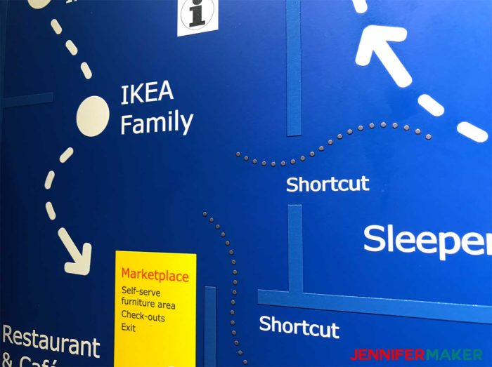IKEA map showing the shortcuts, a useful IKEA shopping tip