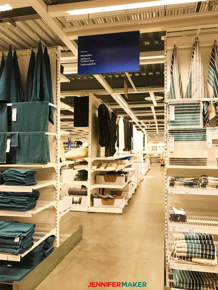 A blue shortcut sign at IKEA, a useful IKEA shopping tip