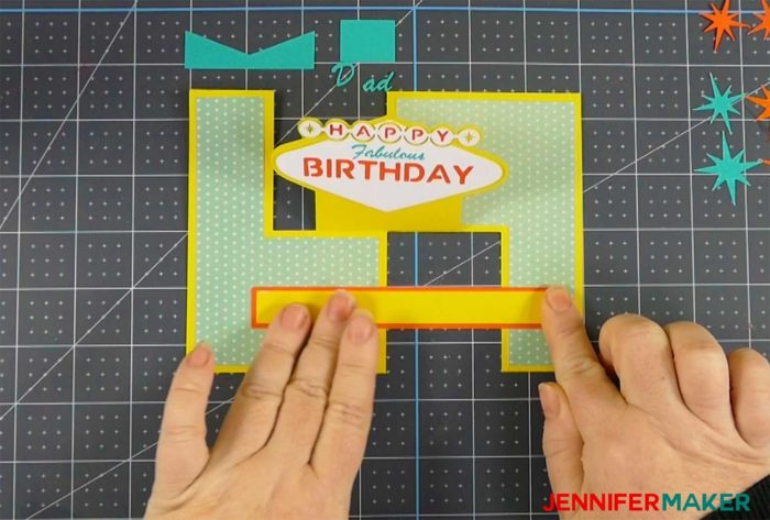 Putting the brace on the fabulous birthday impossible card