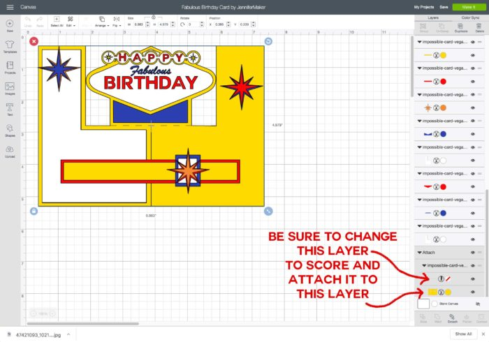 Uploading the fabulous birthday impossible card template to Cricut Design Space