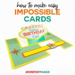 How to make easy impossible cards with templates and svg cut files #cardmaking #cricut #svgcutfile #birthdaycard