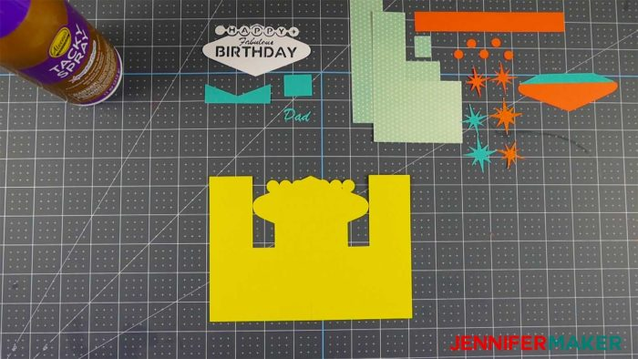 The cut pieces of paper to make the fabulous birthday impossible card