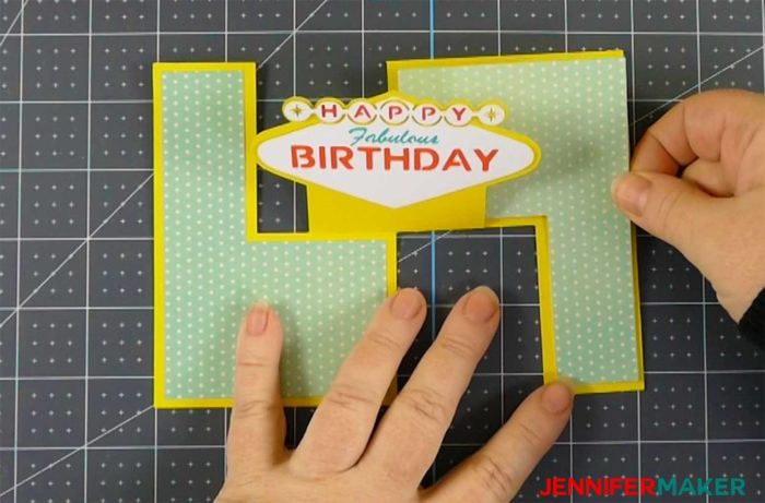 Putting the panels on the fabulous birthday impossible card