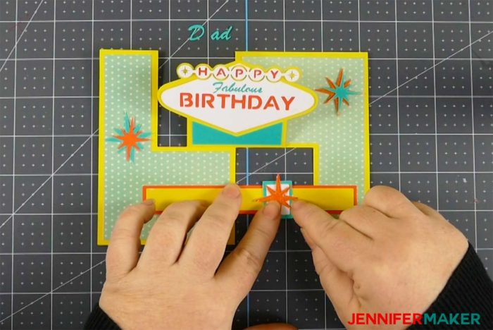 Putting the star on the brace of the fabulous birthday impossible card