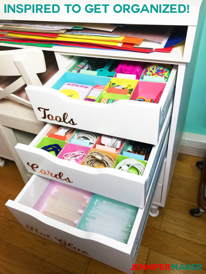 DIY Drawer Dividers in an IKEA Alex Unit - How to Organize Drawers - Cut on a Cricut to fit Ikea Alex drawers #organize #drawers #ikea