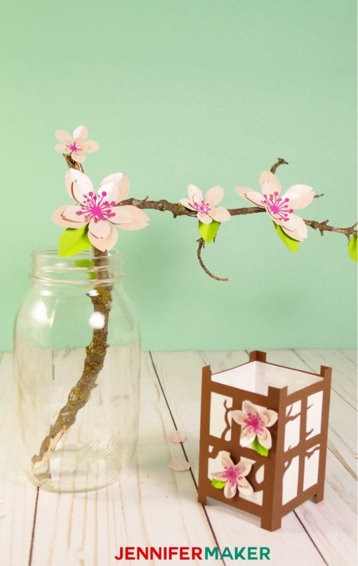 A pretty Japanese paper lantern and paper cherry blossoms #papercraft #paperlanterns #cricut