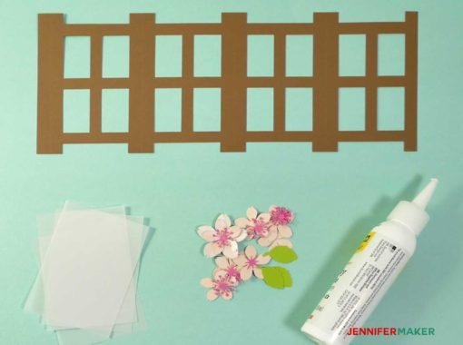 The cut pieces of paper to make the Japanese Paper Lantern