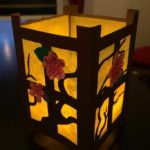 Japanese Paper Lantern with paper flowers by reader Peg Elliott