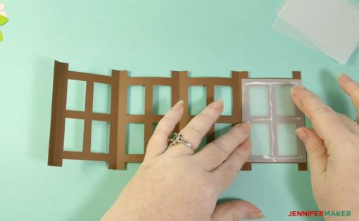 Gluing the window panes inside the Japanese Paper Lantern