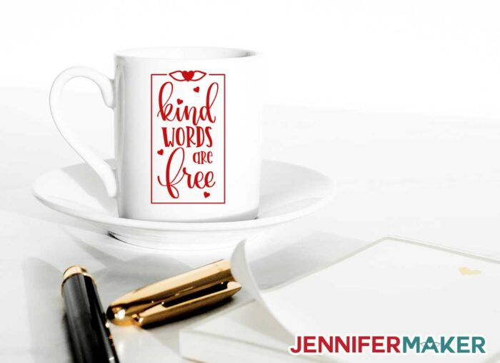 Kind Words are Free decal on a white mug - free SVG cut file to make a Cricut mug