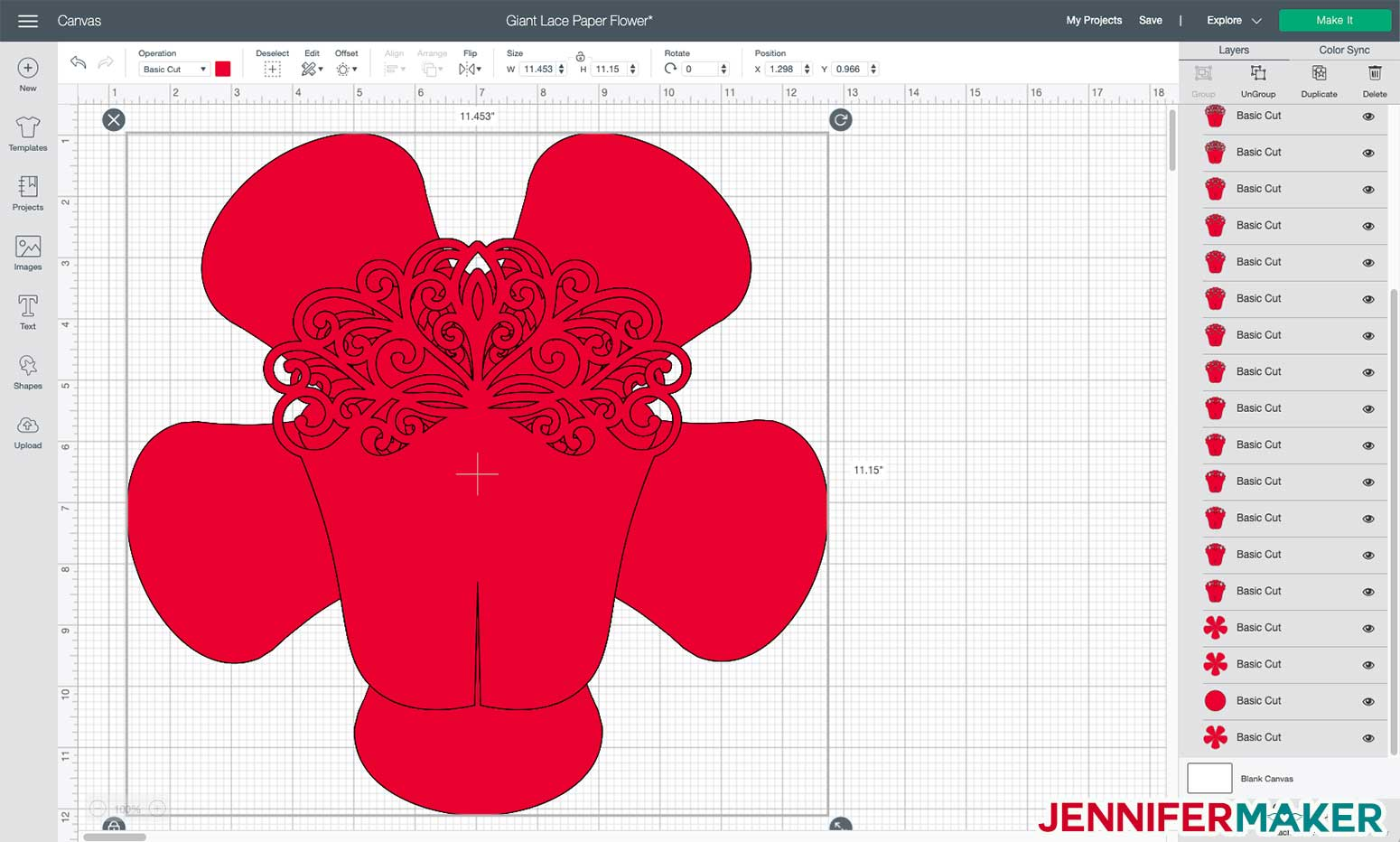 Giant Lace Paper Flower in Cricut Design Space