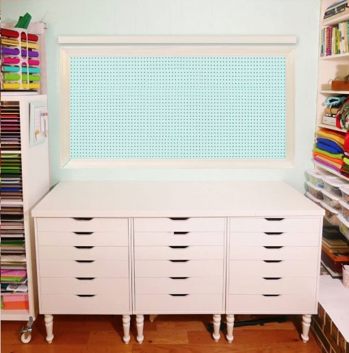 Paint choices for a large framed pegboard | craft room organization | pretty framed pegboard