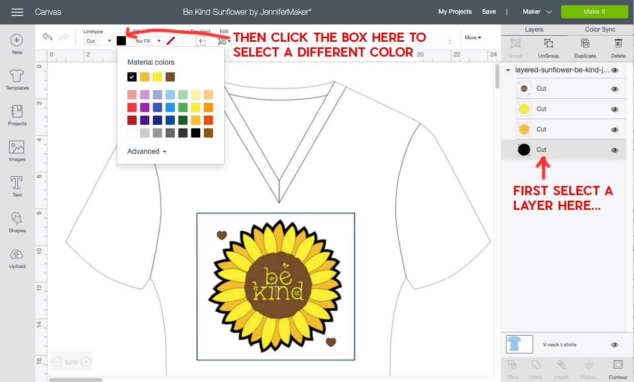 Choosing new colors for layers in Cricut Design Space