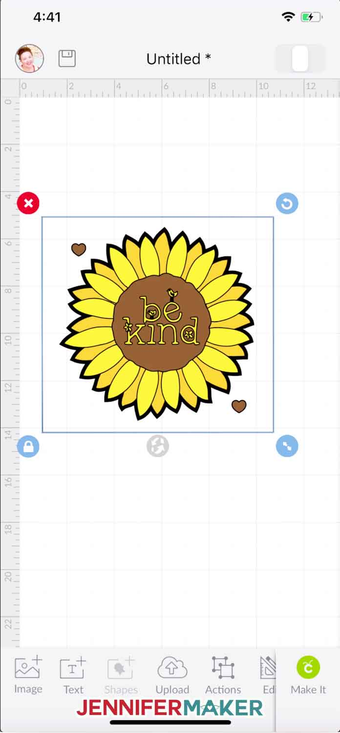 The uploaded sunflower layered iron on vinyl design in Cricut Design Space on the iPhone (iOS)