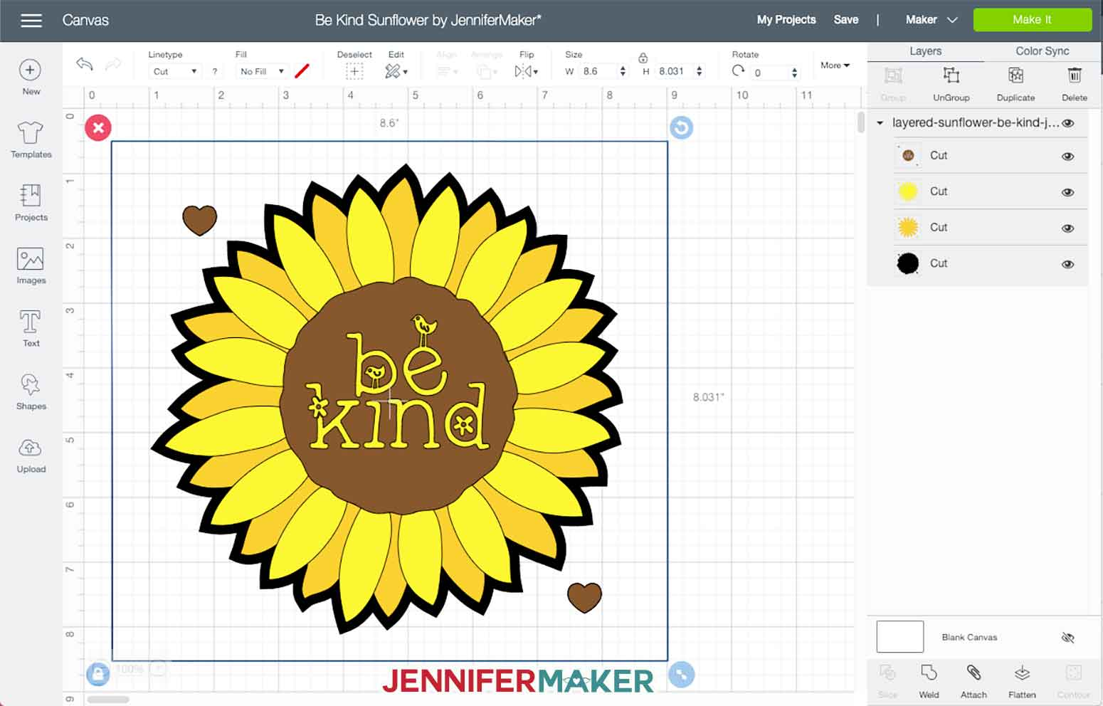 The uploaded sunflower layered iron on vinyl design in Cricut Design Space