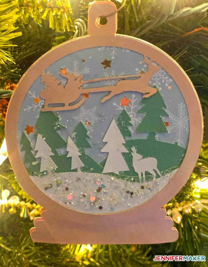 Layered Christmas Ornament on a Christmas Tree