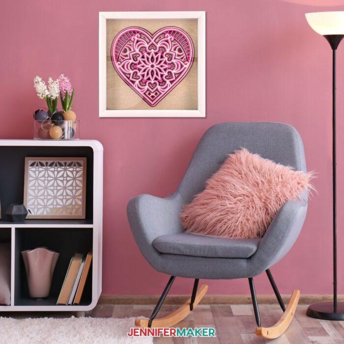 Layered mandala heart on a pretty pink wall