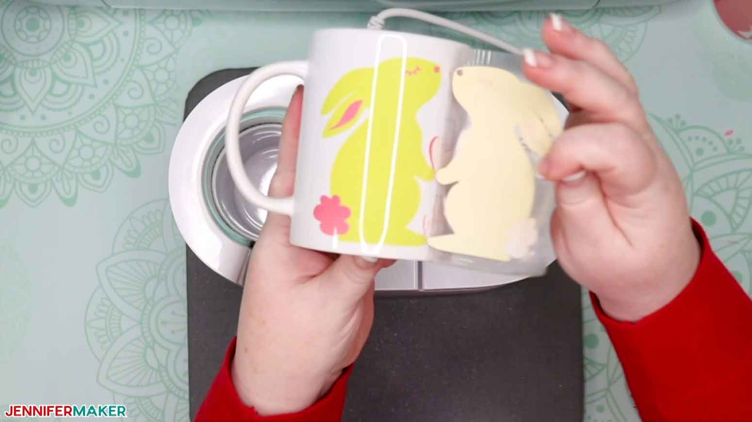 Revealing the layered Infusible Ink mug with a cute yellow and pink bunny