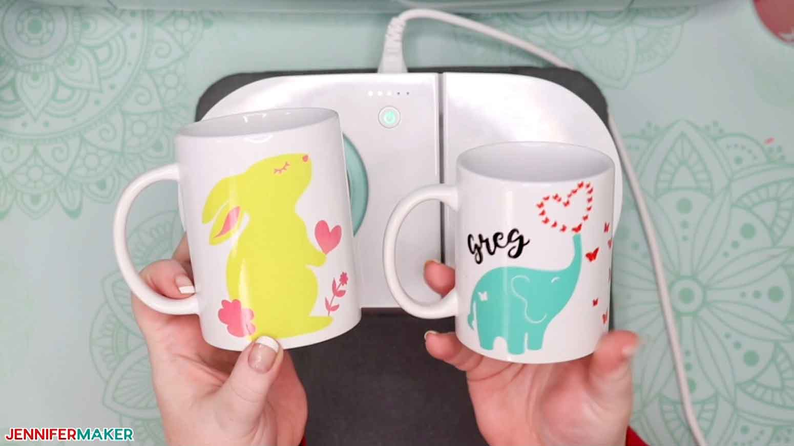 Cute animals in multiple colors made with a layered Infusible Ink mug technique