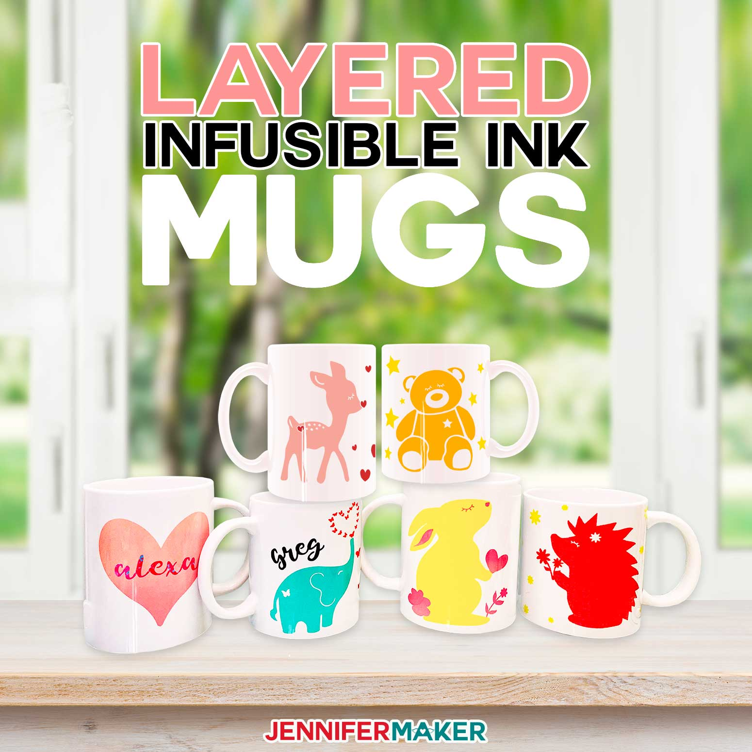 Layered Infusible Ink Mugs made colorful on the Cricut Mug Press #cricut #infusibleink #mugpress