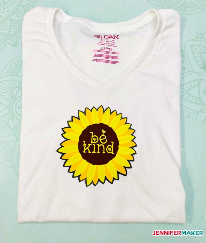 Multi layered iron-on vinyl t-shirt with a sunflower