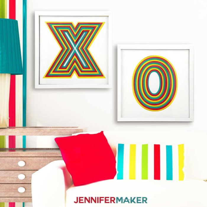 Layered Letter Paper Wall Art in a white living room in frames