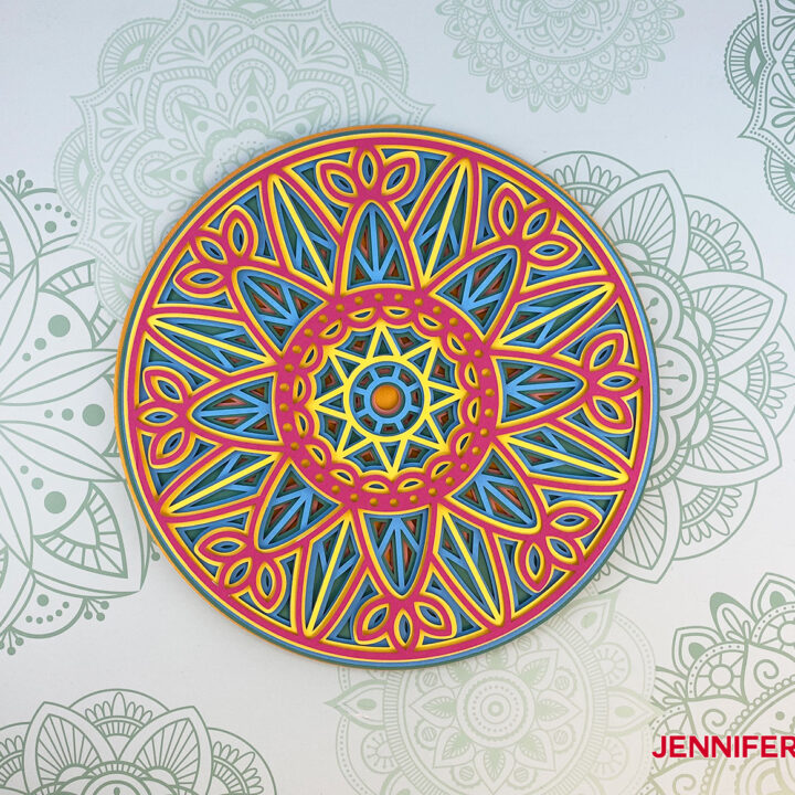 This is a completed six-layer mandala from cardstock