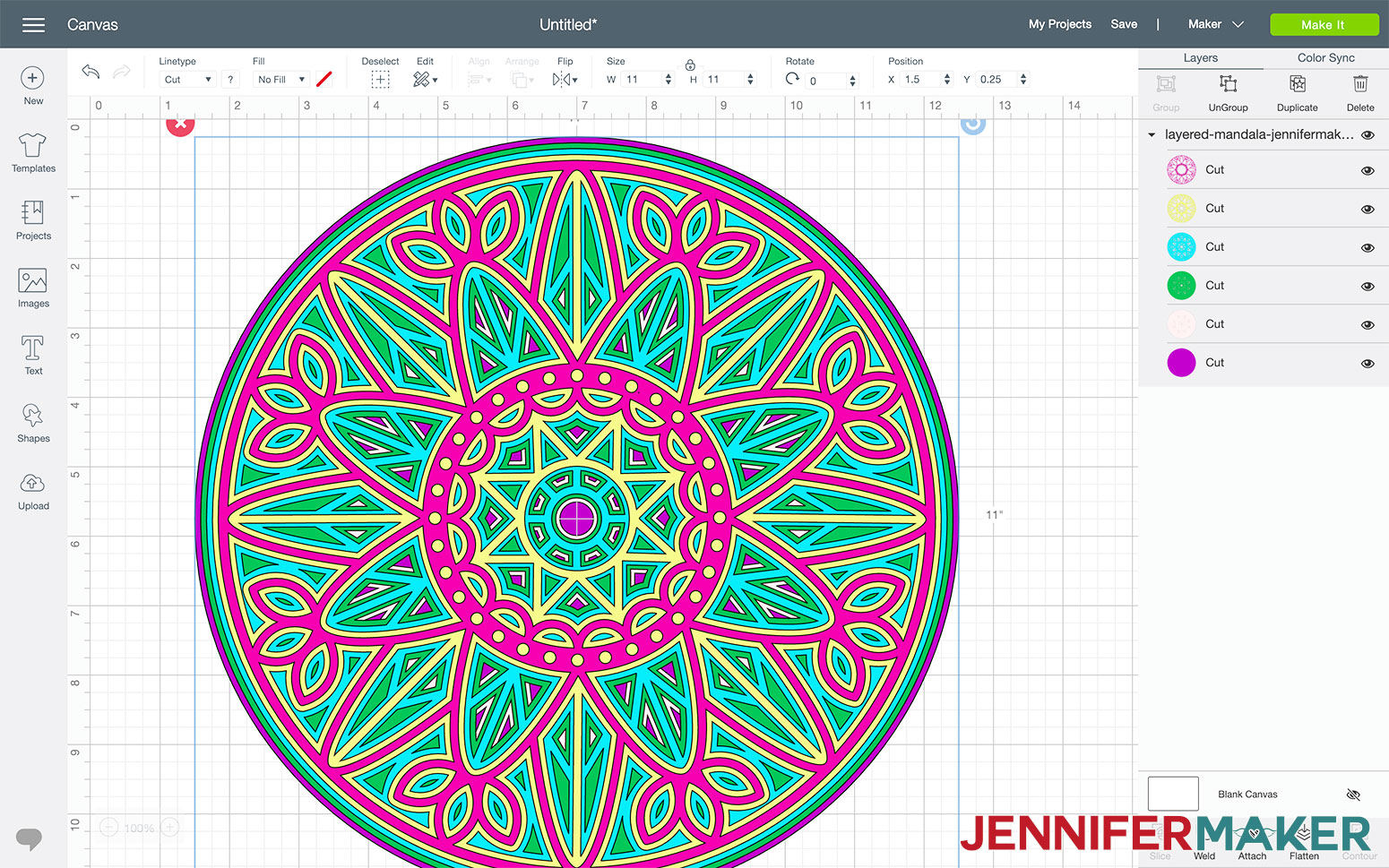 This is what the layered mandala looks like in Cricut Design Space