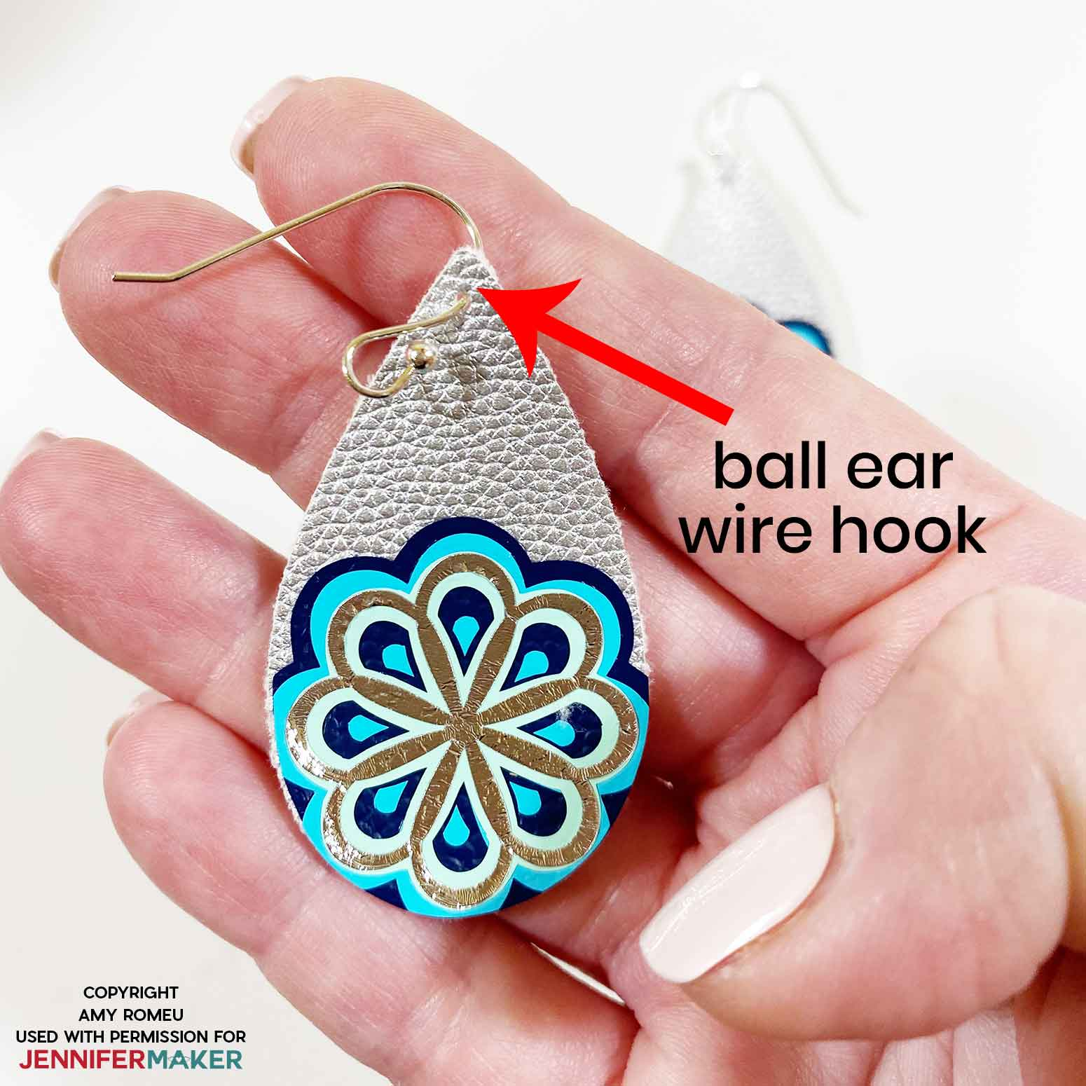 hanging earring with a ball ear wire hook