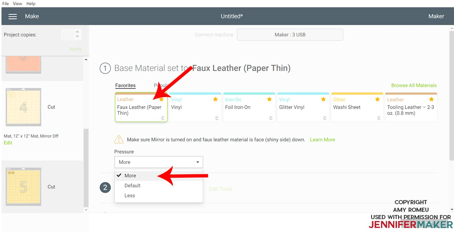 material selection screen for faux leather in Cricut Design Space