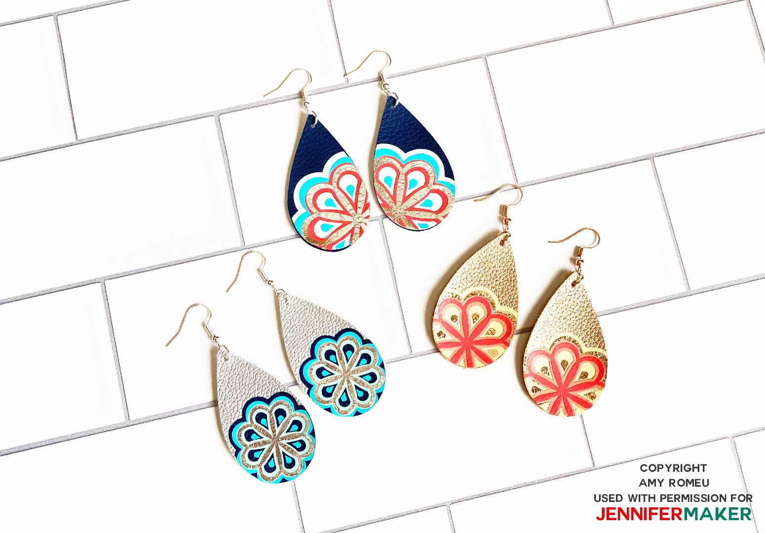 three different designs of faux leather mandala earrings