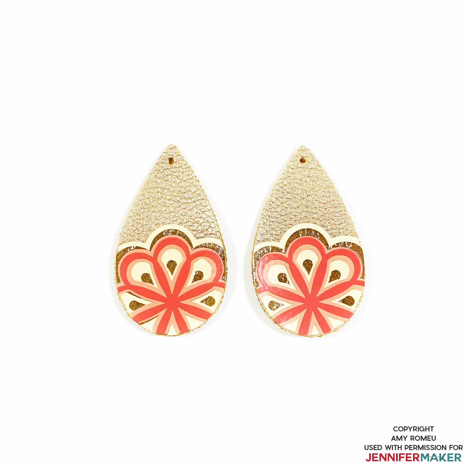 faux leather mandala earrings with earring holes punched